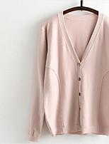 Normal Cardigan Femme Décontracté / Quotidien Couleur Pleine Col en V Manches Longues Coton Automne Moyen Micro-élastique