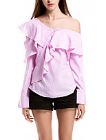 SHE'SWomen's Daily Casual Sexy Cute Street chic Summer T-shirtLines / Waves Asymmetrical Long Sleeve Polyester Thin