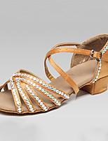 Women's Latin Silk Heels Indoor Buckle Crystals/Rhinestones Black Brown Blue 1