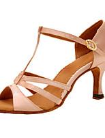 Для женщин Латина Шёлк Сандалии Концертная обувь С пряжкой На шпильке Розовый и белый 7,5 - 9,5 см Персонализируемая