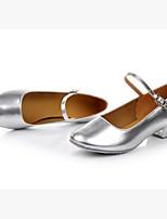 Women's Latin Paillette Glitter Flats Heels Practice Silver