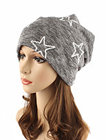 Women's Cotton Beanie Floppy Hat Headwear Cute Casual Chic & Modern Casual/Daily Knitwear Print Fall Winter Cap Navy Black/Grey