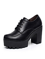 Для женщин Обувь на каблуках Формальная обувь Натуральная кожа Весна Осень Повседневные Шнуровка На толстом каблуке На платформе Черный7