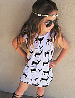 2017 New Girl's Animal Print Dress Cotton Summer Short Sleeve Reindeer Deer Kids Girls Dress 2-6Y