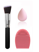 Large silver black oblique foundation brush & small non-latex drop powder & shampoo powder