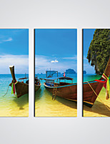 Stretched Canvas Print  Sunny Seascape with Boats Modern Canvas Art for  Wall Decoration Ready to Hang