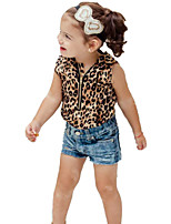 Girls' Fashion Leopard Sleeveless Hoodie Jeans SetsSummer Short Cowboy Pant Clothing Set