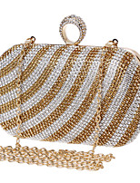 Women Evening Bag Polyester All Seasons Wedding Event/Party Formal Minaudiere Rhinestone Clasp Lock Rainbow Black Gold