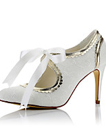 Women's Heels Comfort Fall Winter Satin Wedding Party & Evening Dress Stiletto Heel Ivory 3in-3 3/4in