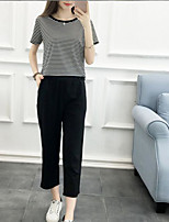 Women's Other Casual Simple Summer Shirt Pant Suits,Other Round Neck Short Sleeve Inelastic