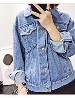 Women's Daily Casual Spring Denim Jacket,Solid Shirt Collar Long Sleeve Regular Cotton