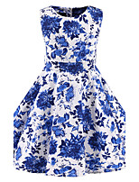 Girl's Blue and White Floral Vintage Inspired Sleeveless 50s Rockabilly Swing Dress Cotton All Seasons Sleeveless