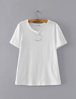 T-shirt Da donna Per uscire Casual Sensuale Semplice Moda città Estate,Tinta unita Girocollo Cotone Manica corta Sottile Medio spessore