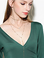 Women's Choker Necklaces Pendant Necklaces Chain Necklaces Obsidian Euramerican Fashion Personalized Multi-ways Wear Imitation Pearl Iron