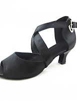 Women's Latin Silk Sandals Performance Buckle Cuban Heel Black 2