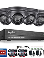 SANNCE® 4CH CCTV Security System Onvif 1080P AHD/TVI/CVI/CVBS/IP 5-in-1 DVR with 4*2.0MP Night Vision Weatherproof Cameras No HDD