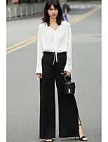 Damen Solide Einfach Alltag Normal Bluse,V-Ausschnitt Langarm Polyester