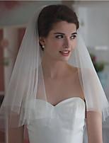 Hochzeitsschleier Zweischichtig Ellbogenlange Schleier Schnittkante Tüll