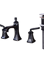 WidespreadBrass Valve Two Handles Three Holes for  Oil-rubbed Bronze , Bathroom Sink Faucet