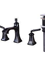 Разбросанная Медный клапан Две ручки три отверстия for  Начищенная бронза , Ванная раковина кран