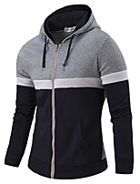 Men's Sports Running Casual/Daily Simple Active Hoodie Striped Stripe Hooded Micro-elastic Cotton Rayon Long Sleeve Fall Winter