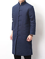 Men's Padded Coat,Vintage Chinoiserie Daily Solid-Cotton Cotton Long Sleeve
