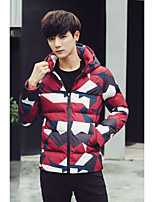 Men's Padded Coat,Simple Casual Print-Polyester Polyester Long Sleeve