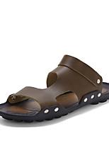 Men's Sandals Comfort Synthetic Microfiber PU Summer Outdoor Comfort Flat Heel Ruby Brown Black Under 1in
