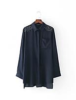 Для женщин На выход На каждый день Весна Осень Рубашка Рубашечный воротник,Простое Очаровательный Уличный стиль Однотонный Длинный рукав,