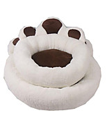 Dog Bed Pet Baskets Footprint/Paw Warm Soft Washable Blushing Pink Beige