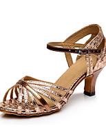 Для женщин Латина Лак Синтетика На каблуках Профессиональный стиль Лак На толстом каблуке Золотой Красный 5 - 6,8 см 7,5 - 9,5 см