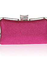 Women Evening Bag Polyester All Seasons Wedding Event/Party Formal Minaudiere Rhinestone Clasp Lock Fuchsia Red Silver Black Gold