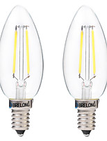 2 pcs BRELONG E14 2W 2COB LED Filament Bulbs White / Warm White AC220-240V