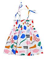 New Fashion Graffiti Girl's Print Dress Cotton Summer Sleeveless Harness Baby Kids Girls Dress