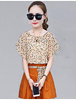 Women's Daily Casual Casual Summer T-shirt Pant Suits,Solid Print Round Neck Short Sleeve Inelastic