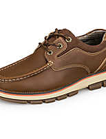 Men's Oxfords Comfort Light Soles Real Leather Fall Winter Casual Office & Career Outdoor Lace-up Flat Heel Light Brown Dark Brown Flat