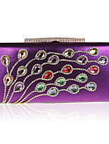 Women Bags All Seasons Polyester Evening Bag with Rhinestone Bead for Event/Party Black Silver Red Purple Fuchsia