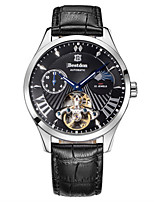 Men's Skeleton Watch Fashion Watch Mechanical Watch Automatic self-winding Water Resistant / Water Proof Noctilucent Leather Band Black