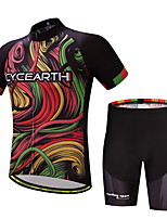 CYCEARTH Cycling Jersey Shorts Pants Short Sleeve Men's Bike Clothing Suits Clothes Summer Breathable Quick Dry CES1002