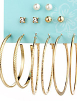 Hoop Pearl Suit Earrings Euramerican Jewelry For Daily 6 pair