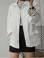 Women's Casual/Daily Vintage Fall Leather Jacket,Solid Round Neck Long Sleeve Regular Cotton