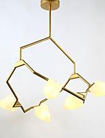 Cinque teste metallo moderno in metallo con lampadario a bracci in vetro per la camera da letto / sala mensa / bar / sala caffè decorare