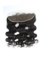 Factory Direct Sales Natural Black Brazilian Remy Human Hair Swiss Lace Closures Body Wave Free Part 13*4 Lace Frontal Closures with Baby Hair