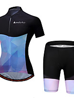 Miloto Cycling Jersey with Shorts Ladies' Female Short Sleeves Bike Padded Shorts/Chamois Clothing Suits Cycling Spandex Polyester