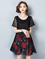 Women's Party Plus Size Beach Holiday Going out Casual/Daily Sexy Cute Chinoiserie Loose Sheath Dress,Floral Round Neck Knee-lengthShort
