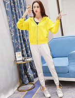 Women's Other Casual Simple Spring Fall Hoodie Pant Suits,Solid Hooded Long Sleeve