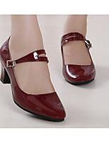 Для женщин Латина Лакированная кожа Полиуретан На каблуках Тренировочные Черный Темно-красный Красный