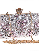 Women Evening Bag Polyester All Seasons Wedding Event/Party Formal Minaudiere Rhinestone Crystal Clasp Lock Blushing Pink