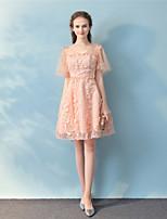 Cocktailparty Kleid Prinzessin V-Ausschnitt Knie-Länge Spitze mit Spitze