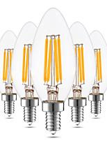 5 pcs Dimmable YWXLight® LED Bulb E12 C35 4W Glass Shell 360 Degree Vintage LED Candle Light Edison LED Filament Lamp Warm White  AC 110-130V